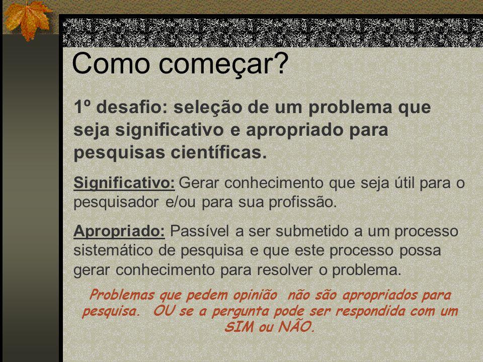 Passos em uma investigação Científica 1. Identificação do problema 2. Formulação da pergunta ou hipótesse 3. Revisão da literatura 4. Desenvolvimento