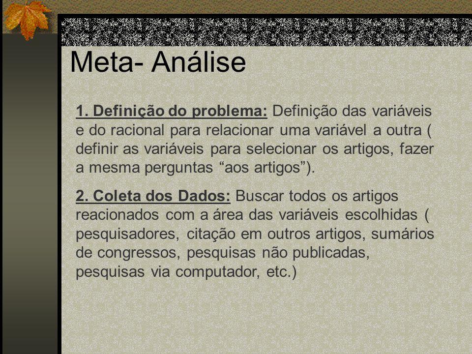 Meta- Análise Etapas: 1. Definição do problema 2. Coleta dos Dados 3. Avaliação dos Dados 4. Análise e Interpretação 5. Relato dos Resultados