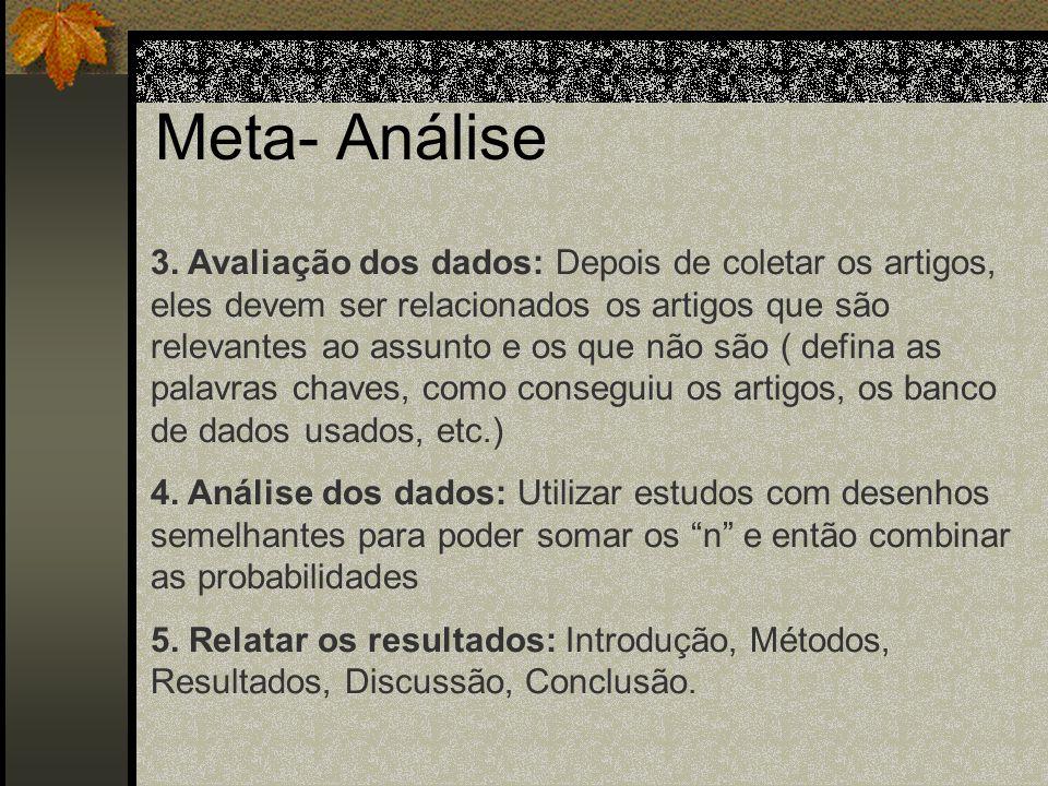 Meta- Análise 1. Definição do problema: Definição das variáveis e do racional para relacionar uma variável a outra ( definir as variáveis para selecio