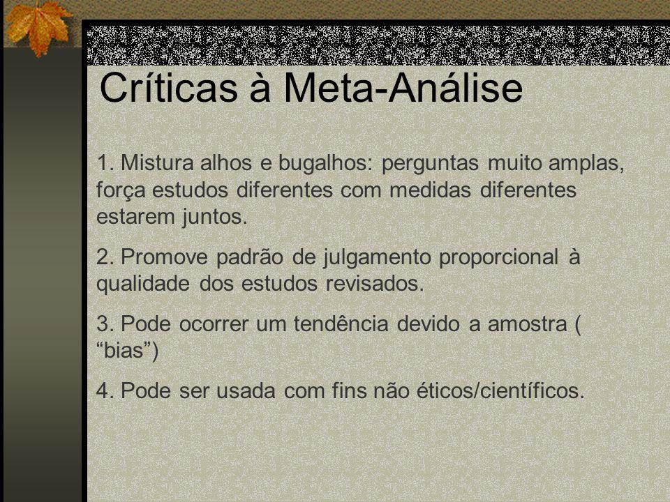 Meta- Análise 3. Avaliação dos dados: Depois de coletar os artigos, eles devem ser relacionados os artigos que são relevantes ao assunto e os que não