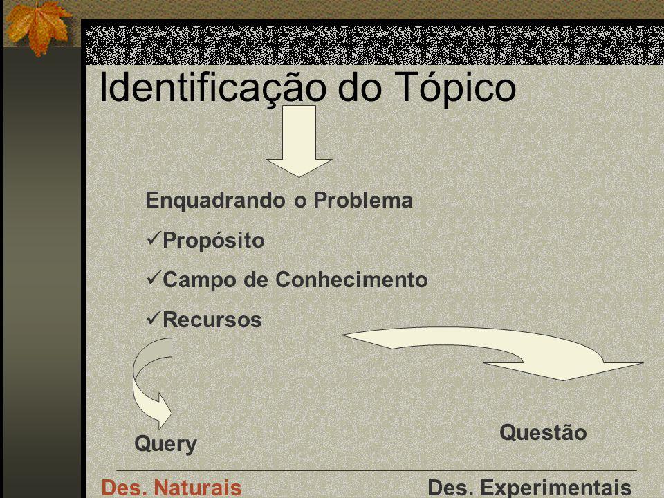 Identificação do Tópico Enquadrando o Problema Propósito Campo de Conhecimento Recursos Query Questão Des.