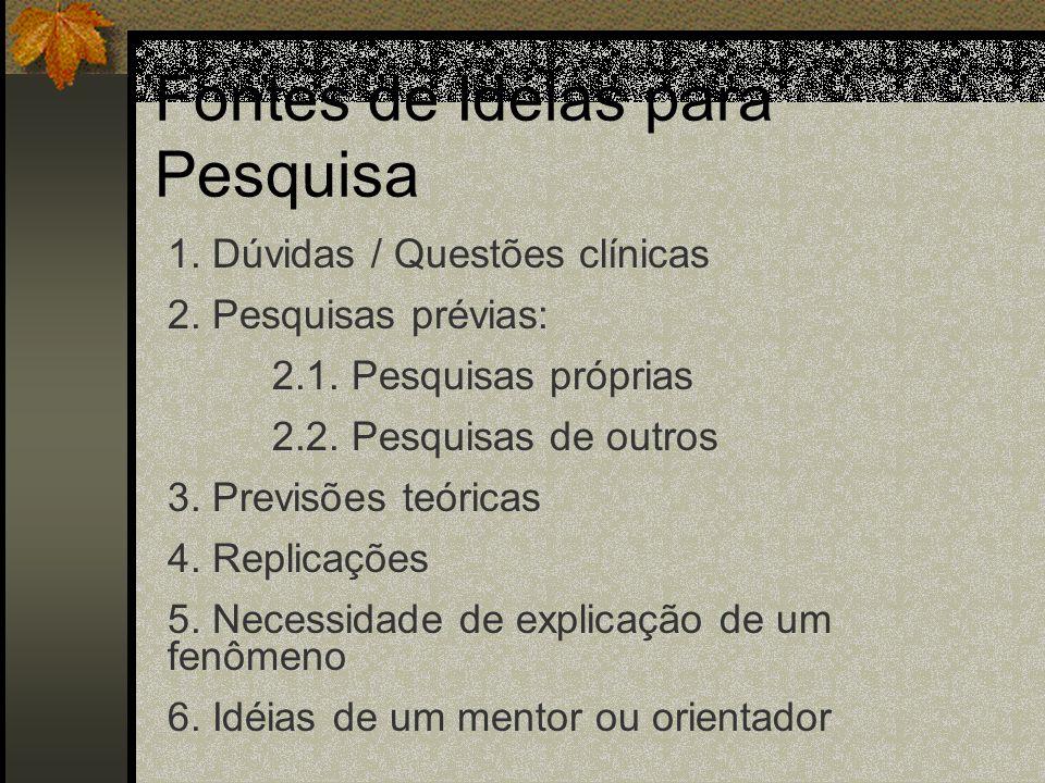 Fontes de Idéias para Pesquisa 1.Dúvidas / Questões clínicas 2.
