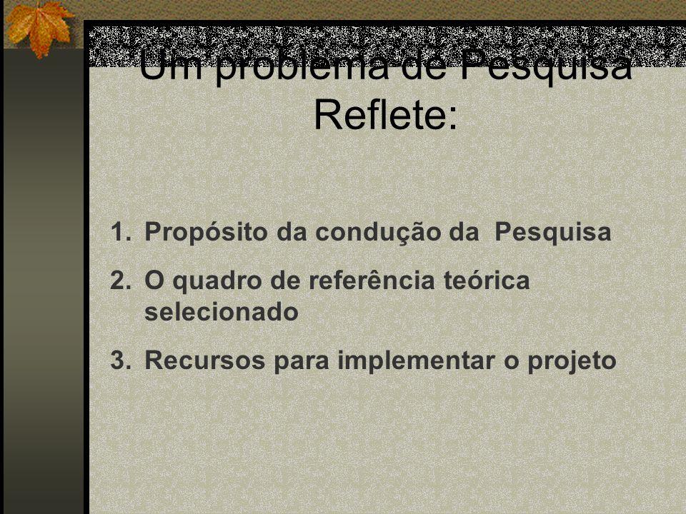 Especificidade dos Problemas de Pesquisa 1.Pesquisas Naturais: Amplamente formulados, e vão ganhando foco durante o desenvolvimento da pesquisa. 2. Pe