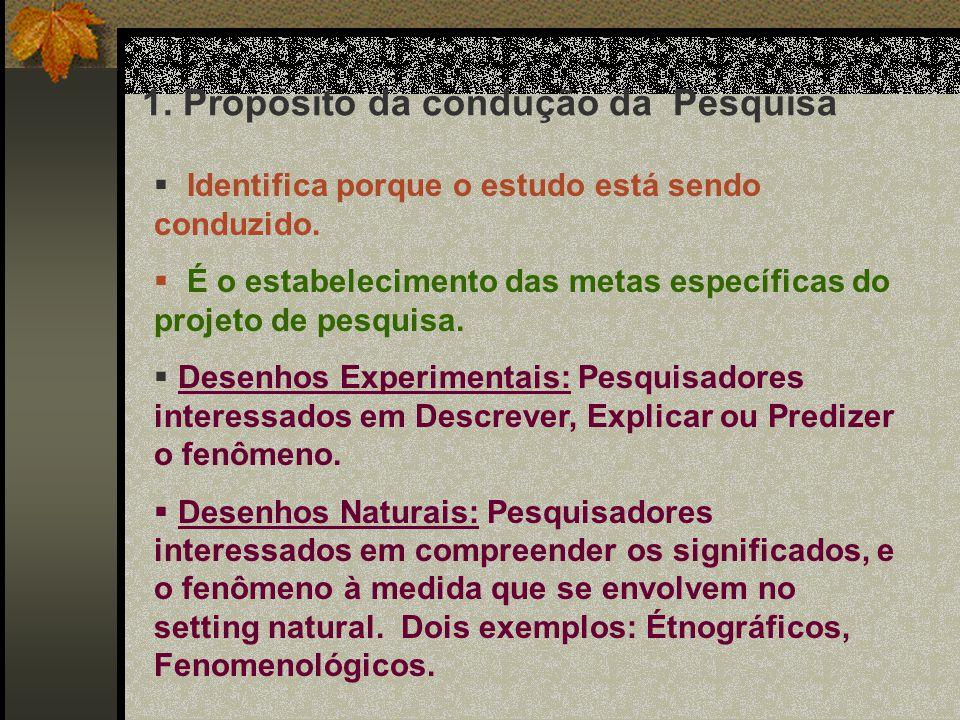 Um problema de Pesquisa Reflete: 1.Propósito da condução da Pesquisa 2.O quadro de referência teórica selecionado 3.Recursos para implementar o projet