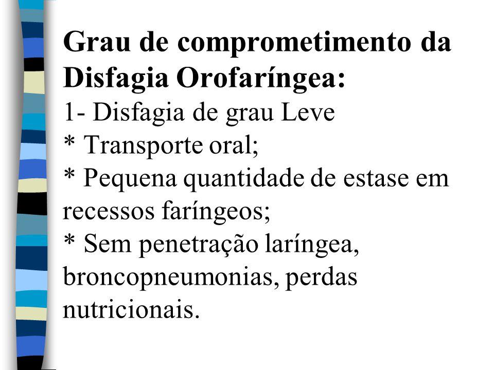 Grau de comprometimento da Disfagia Orofaríngea: 1- Disfagia de grau Leve * Transporte oral; * Pequena quantidade de estase em recessos faríngeos; * S