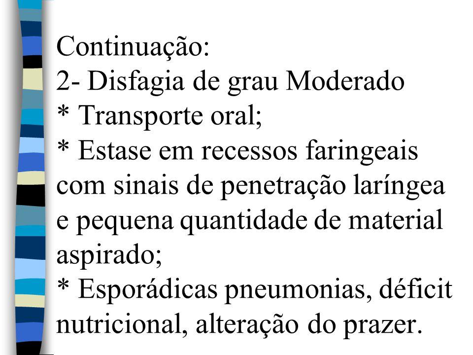 Continuação: 2- Disfagia de grau Moderado * Transporte oral; * Estase em recessos faringeais com sinais de penetração laríngea e pequena quantidade de