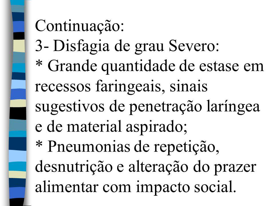 Continuação: 3- Disfagia de grau Severo: * Grande quantidade de estase em recessos faringeais, sinais sugestivos de penetração laríngea e de material