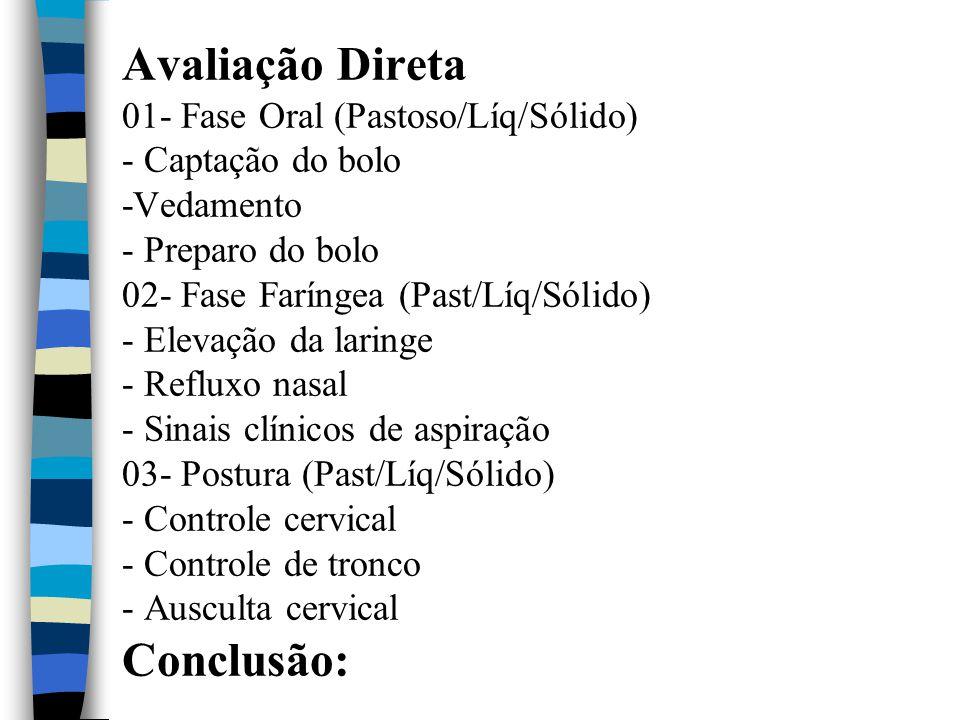 Avaliação Direta 01- Fase Oral (Pastoso/Líq/Sólido) - Captação do bolo -Vedamento - Preparo do bolo 02- Fase Faríngea (Past/Líq/Sólido) - Elevação da