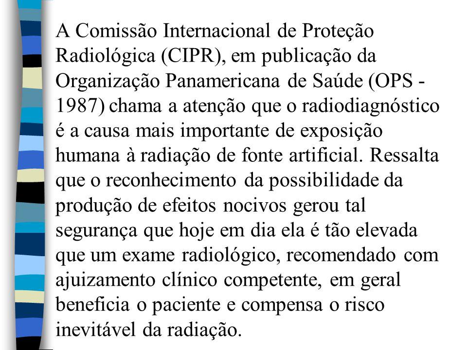 A Comissão Internacional de Proteção Radiológica (CIPR), em publicação da Organização Panamericana de Saúde (OPS - 1987) chama a atenção que o radiodi