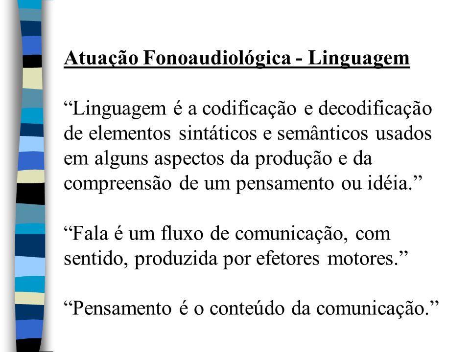 """Atuação Fonoaudiológica - Linguagem """"Linguagem é a codificação e decodificação de elementos sintáticos e semânticos usados em alguns aspectos da produ"""