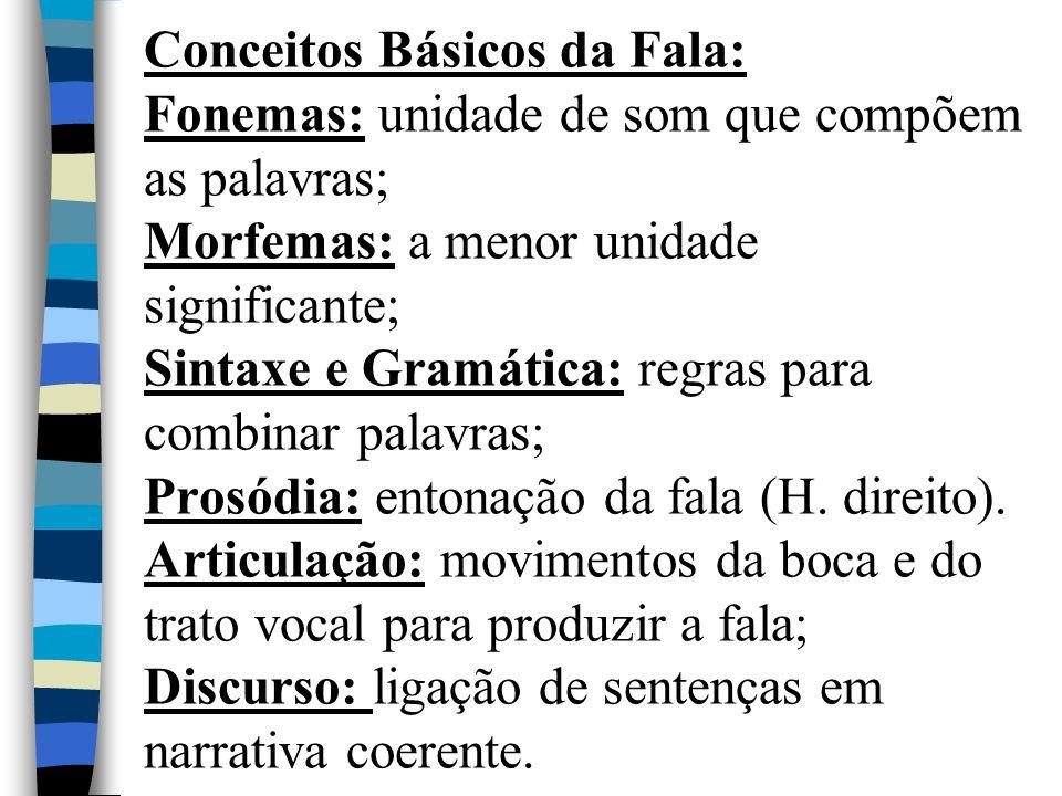 Conceitos Básicos da Fala: Fonemas: unidade de som que compõem as palavras; Morfemas: a menor unidade significante; Sintaxe e Gramática: regras para c