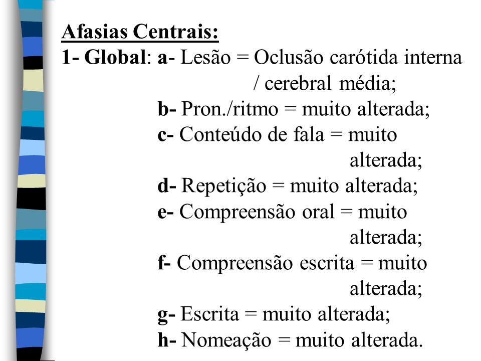 Afasias Centrais: 1- Global: a- Lesão = Oclusão carótida interna / cerebral média; b- Pron./ritmo = muito alterada; c- Conteúdo de fala = muito altera