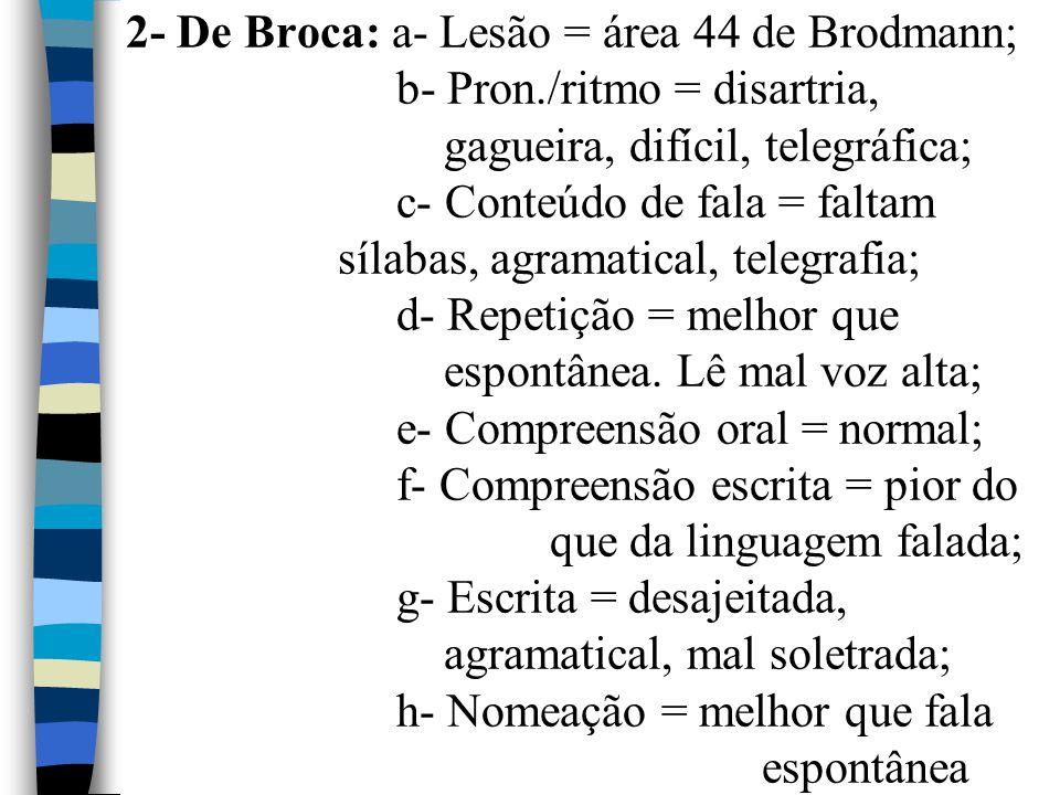 2- De Broca: a- Lesão = área 44 de Brodmann; b- Pron./ritmo = disartria, gagueira, difícil, telegráfica; c- Conteúdo de fala = faltam sílabas, agramat
