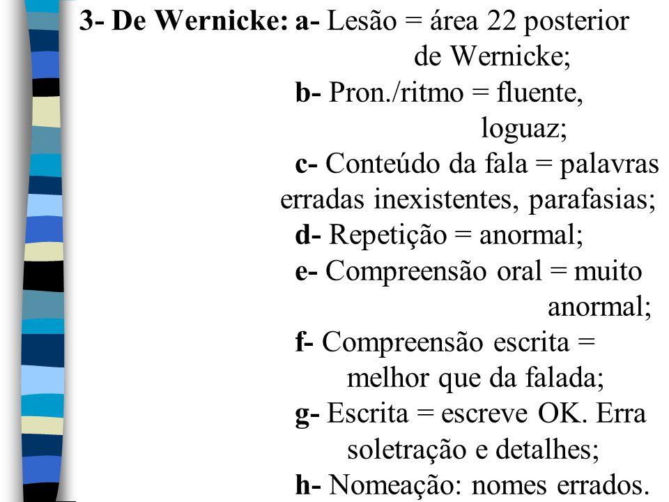 3- De Wernicke: a- Lesão = área 22 posterior de Wernicke; b- Pron./ritmo = fluente, loguaz; c- Conteúdo da fala = palavras erradas inexistentes, paraf