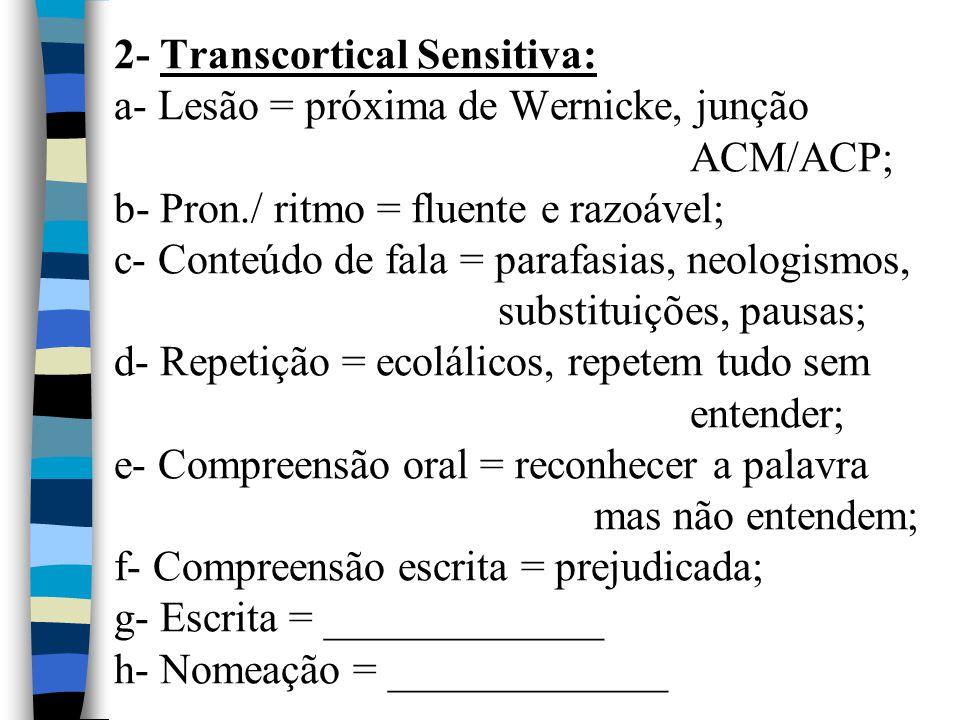 2- Transcortical Sensitiva: a- Lesão = próxima de Wernicke, junção ACM/ACP; b- Pron./ ritmo = fluente e razoável; c- Conteúdo de fala = parafasias, ne