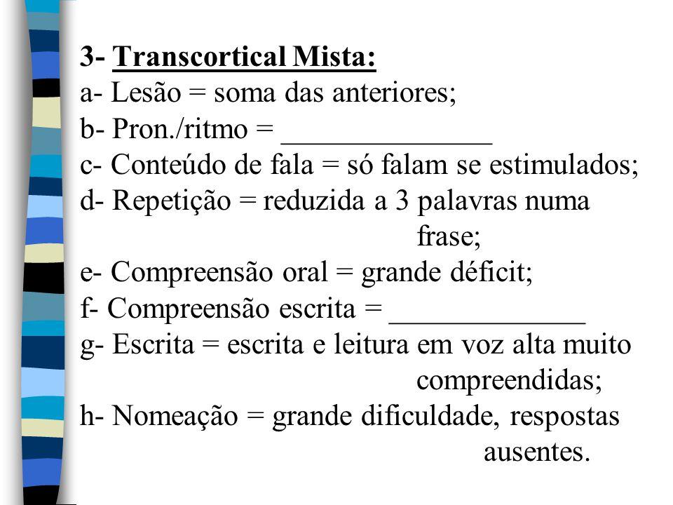 3- Transcortical Mista: a- Lesão = soma das anteriores; b- Pron./ritmo = ______________ c- Conteúdo de fala = só falam se estimulados; d- Repetição =