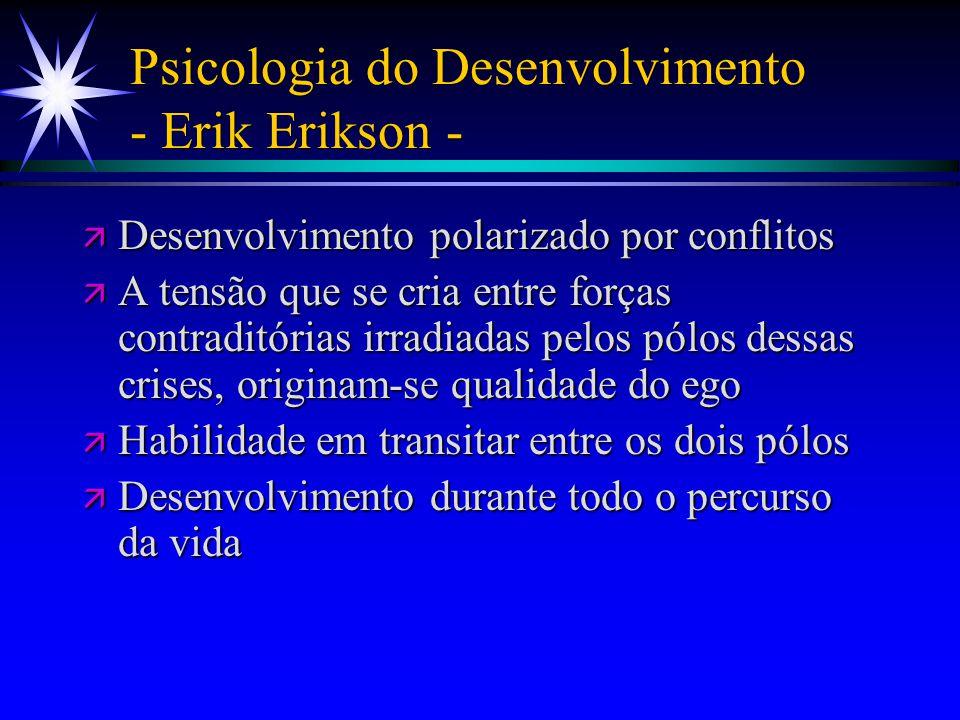 Psicologia do Desenvolvimento - Erik Erikson - ä Desenvolvimento polarizado por conflitos ä A tensão que se cria entre forças contraditórias irradiada