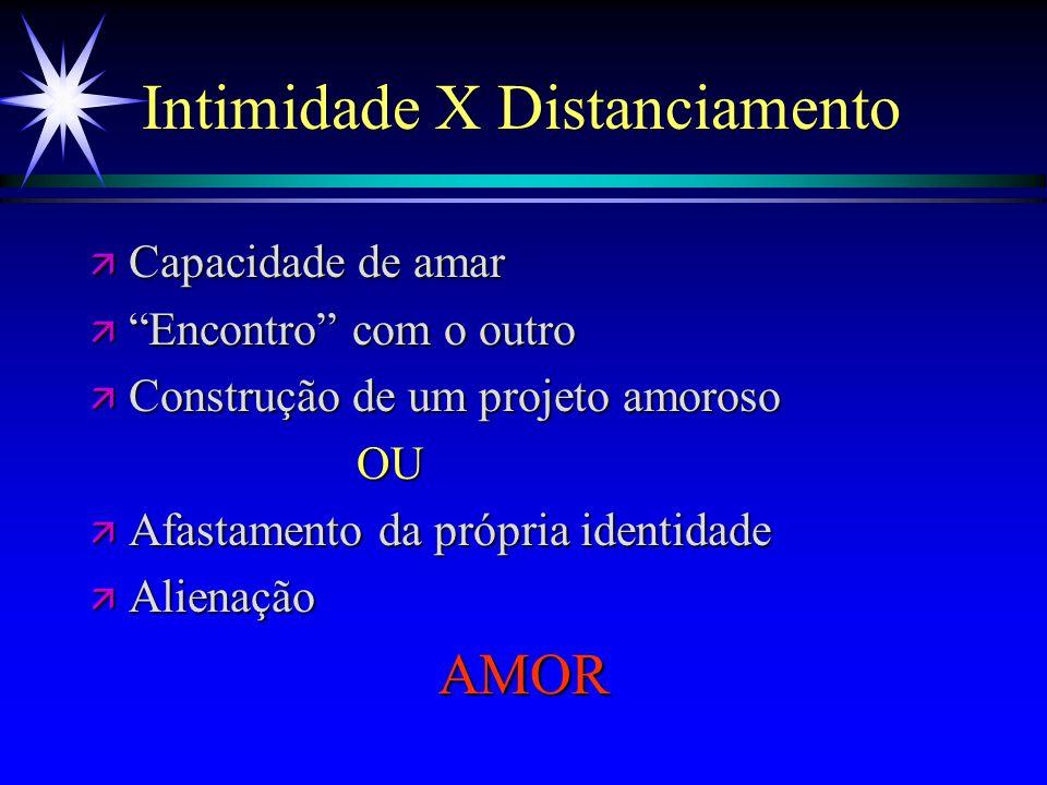 """Intimidade X Distanciamento ä Capacidade de amar ä """"Encontro"""" com o outro ä Construção de um projeto amoroso OU OU ä Afastamento da própria identidade"""