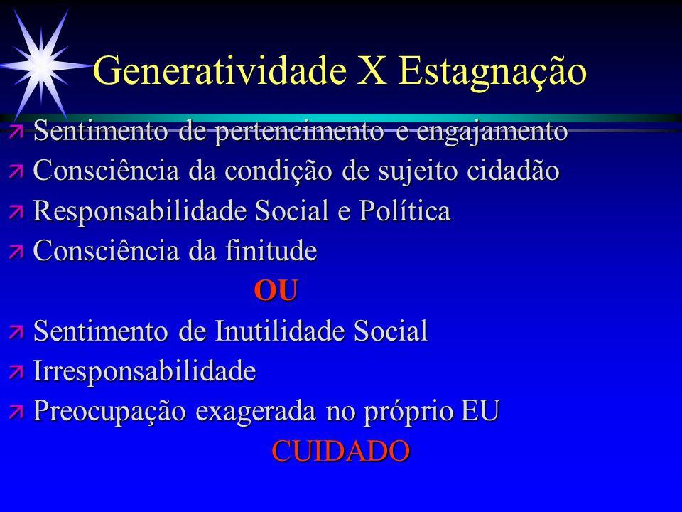 Generatividade X Estagnação ä Sentimento de pertencimento e engajamento ä Consciência da condição de sujeito cidadão ä Responsabilidade Social e Polít
