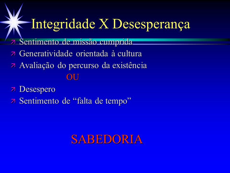 Integridade X Desesperança ä Sentimento de missão cumprida ä Generatividade orientada à cultura ä Avaliação do percurso da existência OU OU ä Desesper