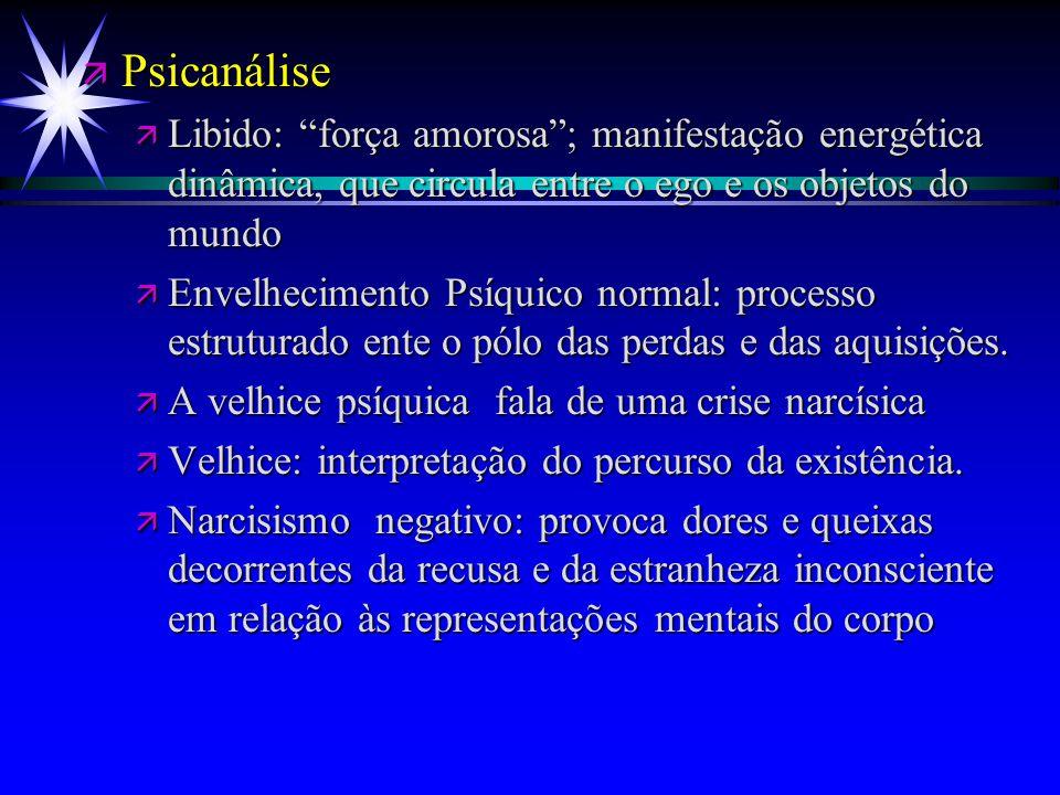 """ä Psicanálise ä Libido: """"força amorosa""""; manifestação energética dinâmica, que circula entre o ego e os objetos do mundo ä Envelhecimento Psíquico nor"""
