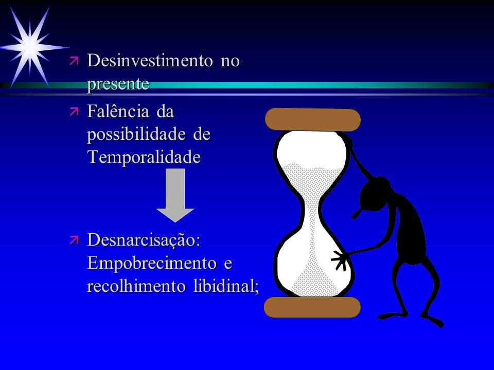 ä Desinvestimento no presente ä Falência da possibilidade de Temporalidade ä Desnarcisação: Empobrecimento e recolhimento libidinal;