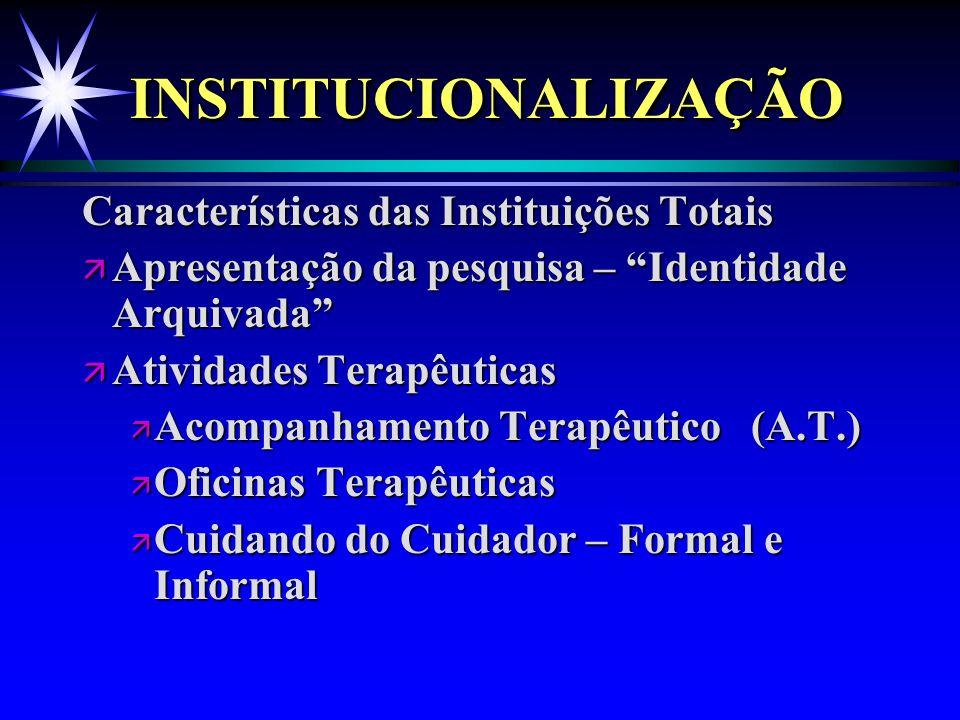 """INSTITUCIONALIZAÇÃOINSTITUCIONALIZAÇÃO Características das Instituições Totais ä Apresentação da pesquisa – """"Identidade Arquivada"""" ä Atividades Terapê"""