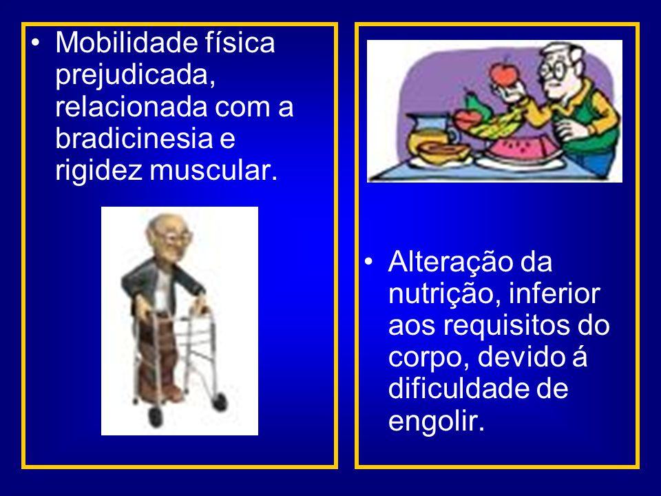 Mobilidade física prejudicada, relacionada com a bradicinesia e rigidez muscular.