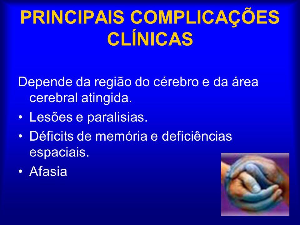 PRINCIPAIS COMPLICAÇÕES CLÍNICAS Depende da região do cérebro e da área cerebral atingida.