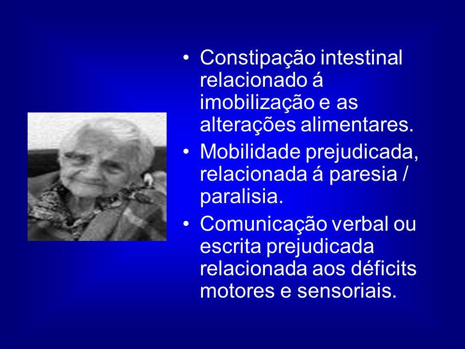 Constipação intestinal relacionado á imobilização e as alterações alimentares.