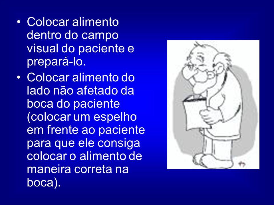 Colocar alimento dentro do campo visual do paciente e prepará-lo.