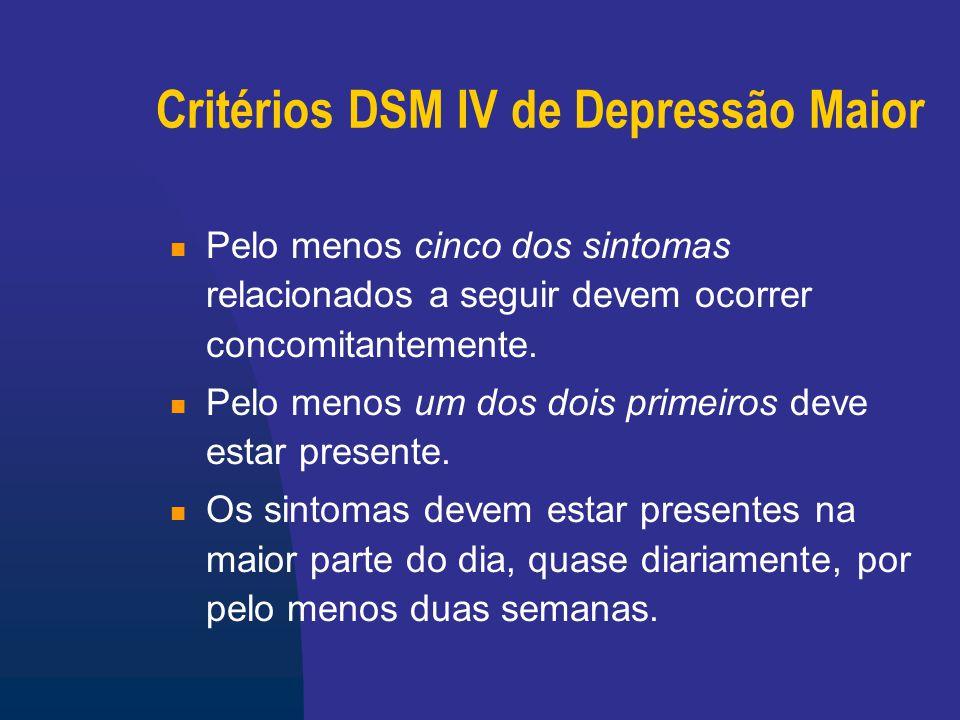 Critérios DSM IV de Depressão Maior 1.Baixa do humor (tristeza, desânimo) 2.