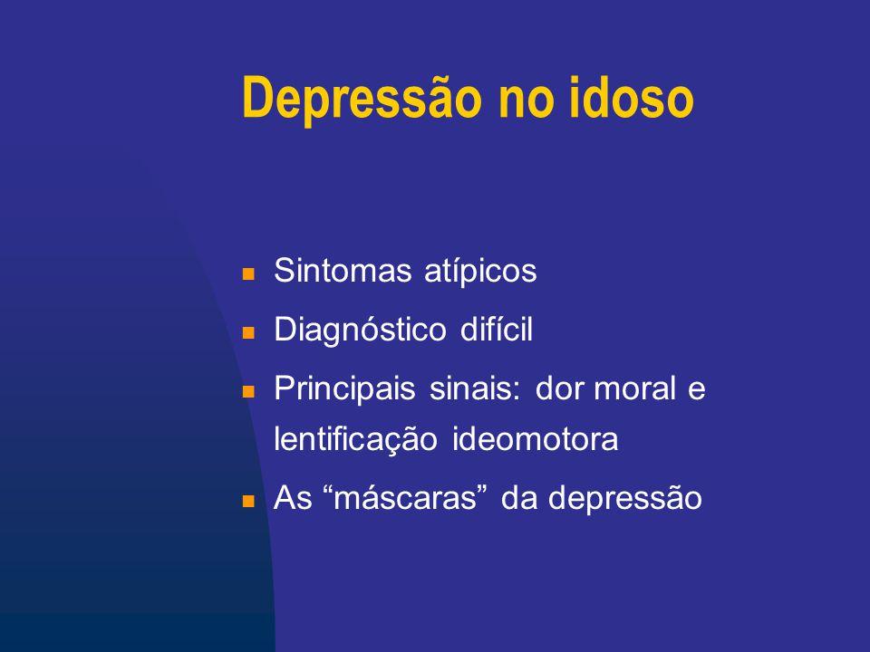 Máscaras da Depressão Distúrbios cognitivos (pseudo- demência) Ansiedade (agitação, insônia) Queixas somáticas Delírios de prejuízo Atitude regressiva