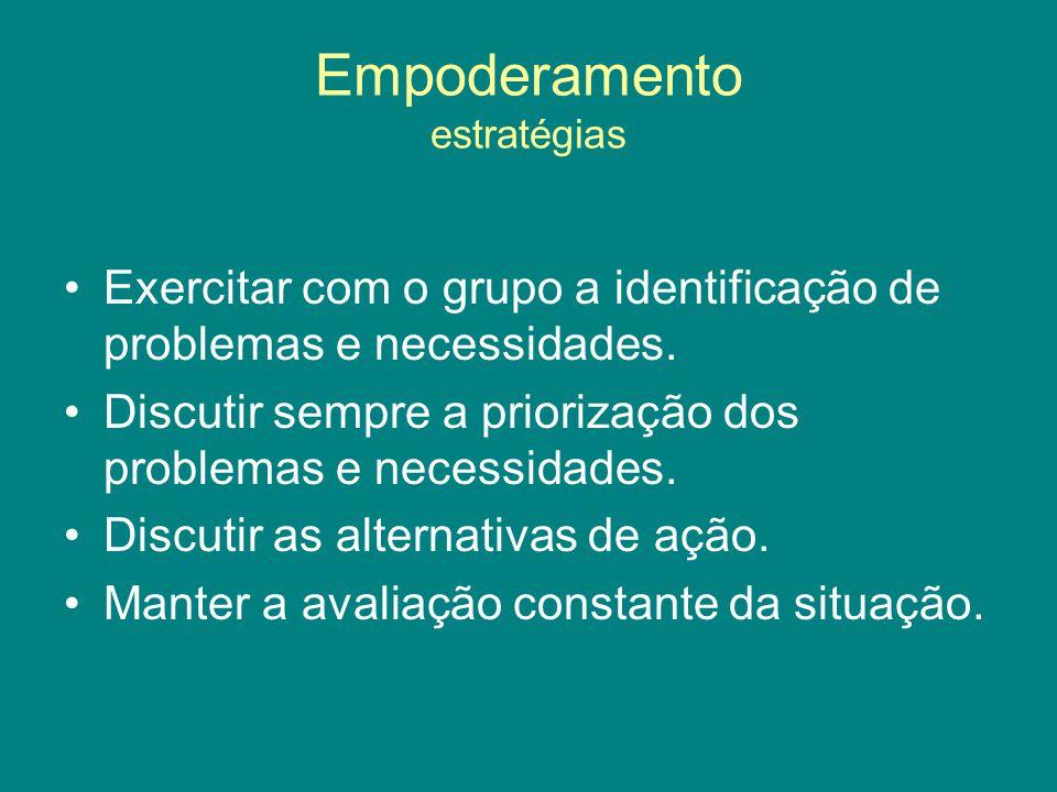 Empoderamento estratégias Exercitar com o grupo a identificação de problemas e necessidades. Discutir sempre a priorização dos problemas e necessidade
