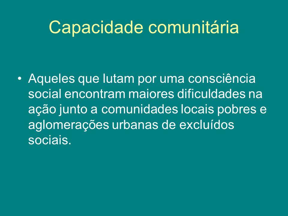 Capacidade comunitária Aqueles que lutam por uma consciência social encontram maiores dificuldades na ação junto a comunidades locais pobres e aglomer