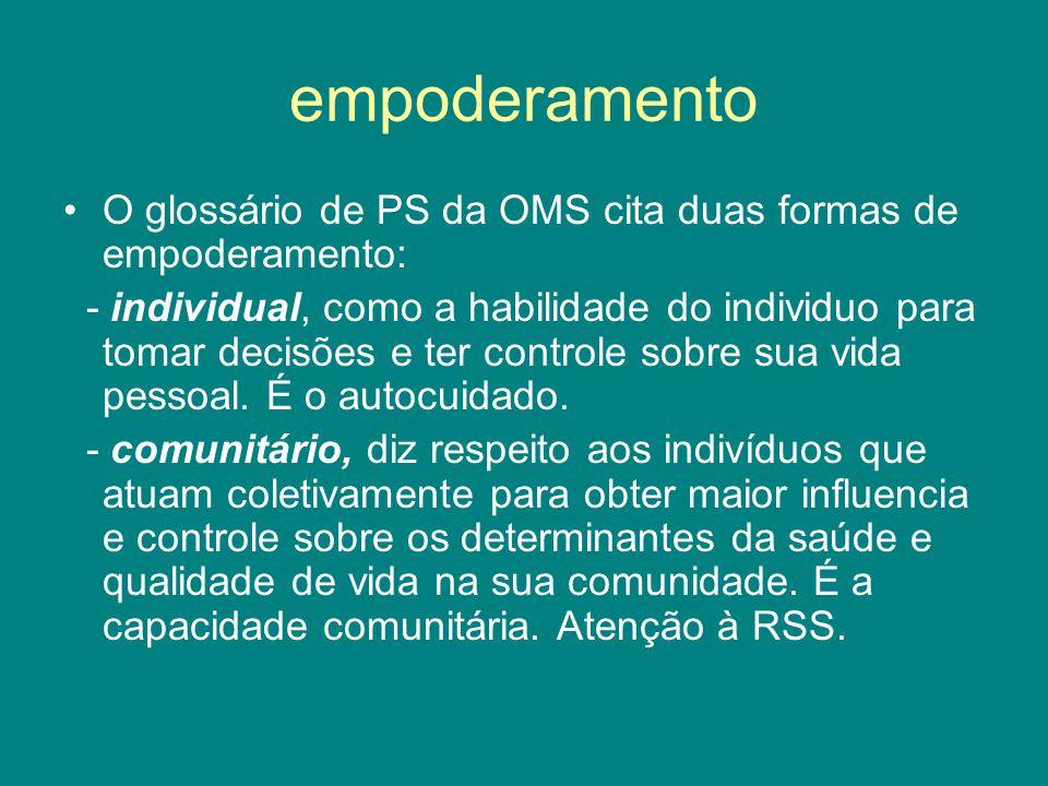 empoderamento O glossário de PS da OMS cita duas formas de empoderamento: - individual, como a habilidade do individuo para tomar decisões e ter contr