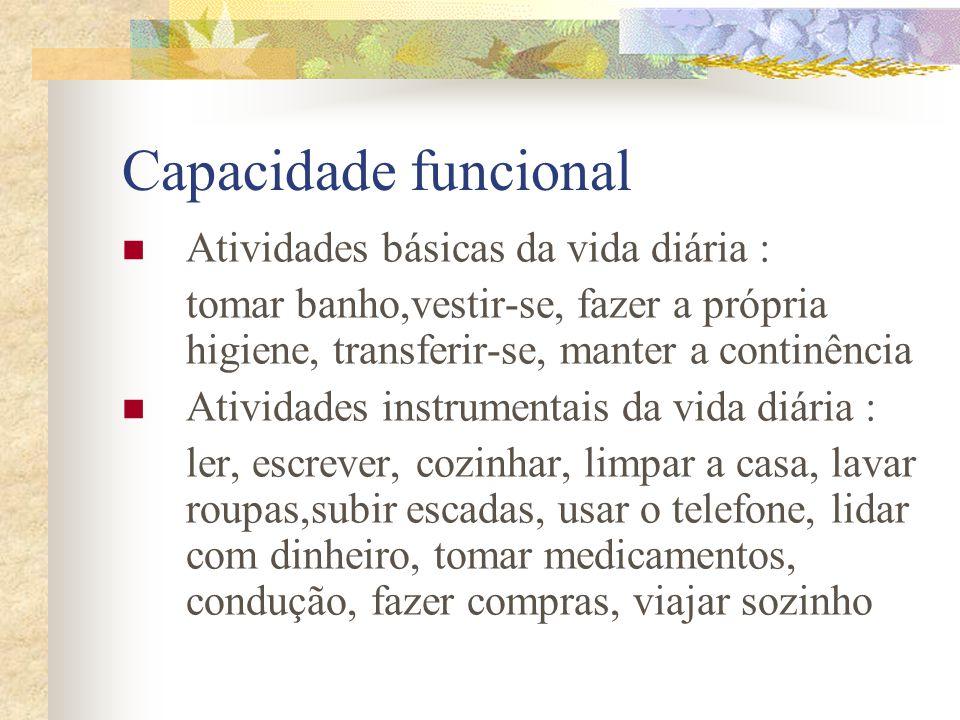 Capacidade funcional Atividades básicas da vida diária : tomar banho,vestir-se, fazer a própria higiene, transferir-se, manter a continência Atividade