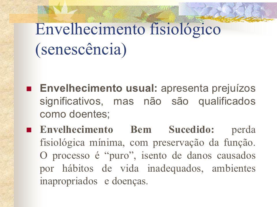 Envelhecimento fisiológico (senescência) Envelhecimento usual: apresenta prejuízos significativos, mas não são qualificados como doentes; Envelhecimen