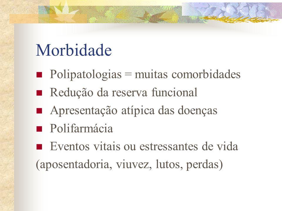 Morbidade Polipatologias = muitas comorbidades Redução da reserva funcional Apresentação atípica das doenças Polifarmácia Eventos vitais ou estressant