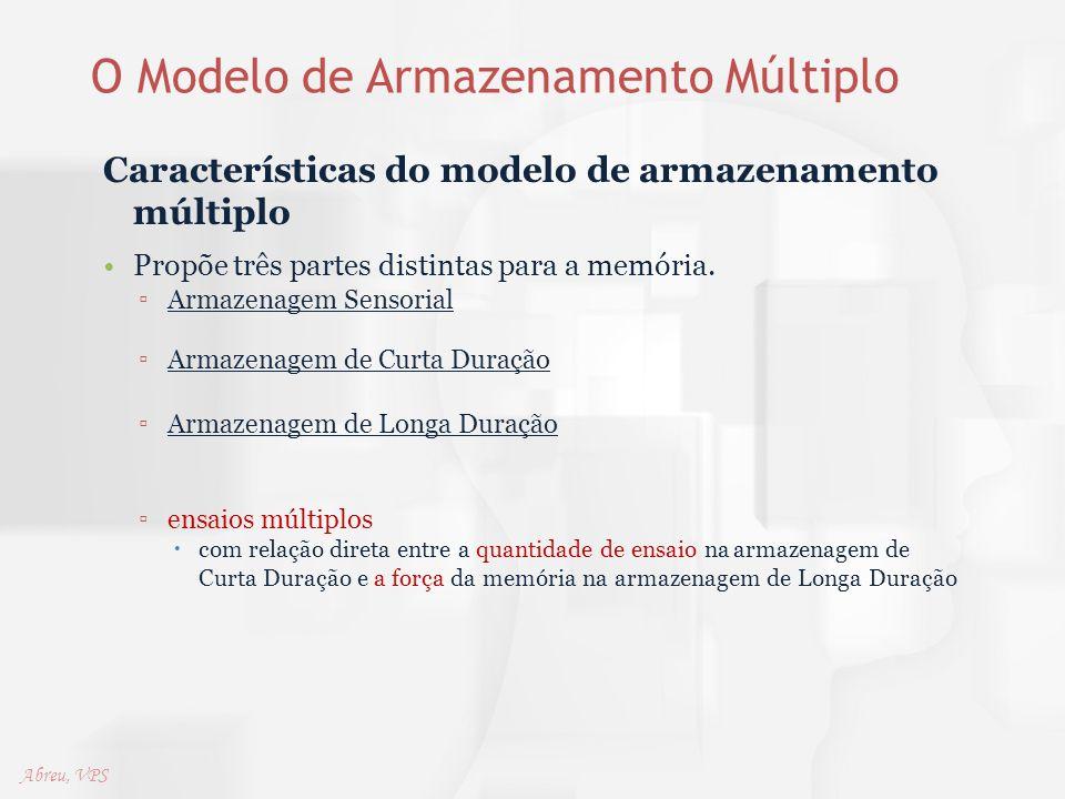 O Modelo de Armazenamento Múltiplo Características do modelo de armazenamento múltiplo Propõe três partes distintas para a memória. ▫Armazenagem Senso