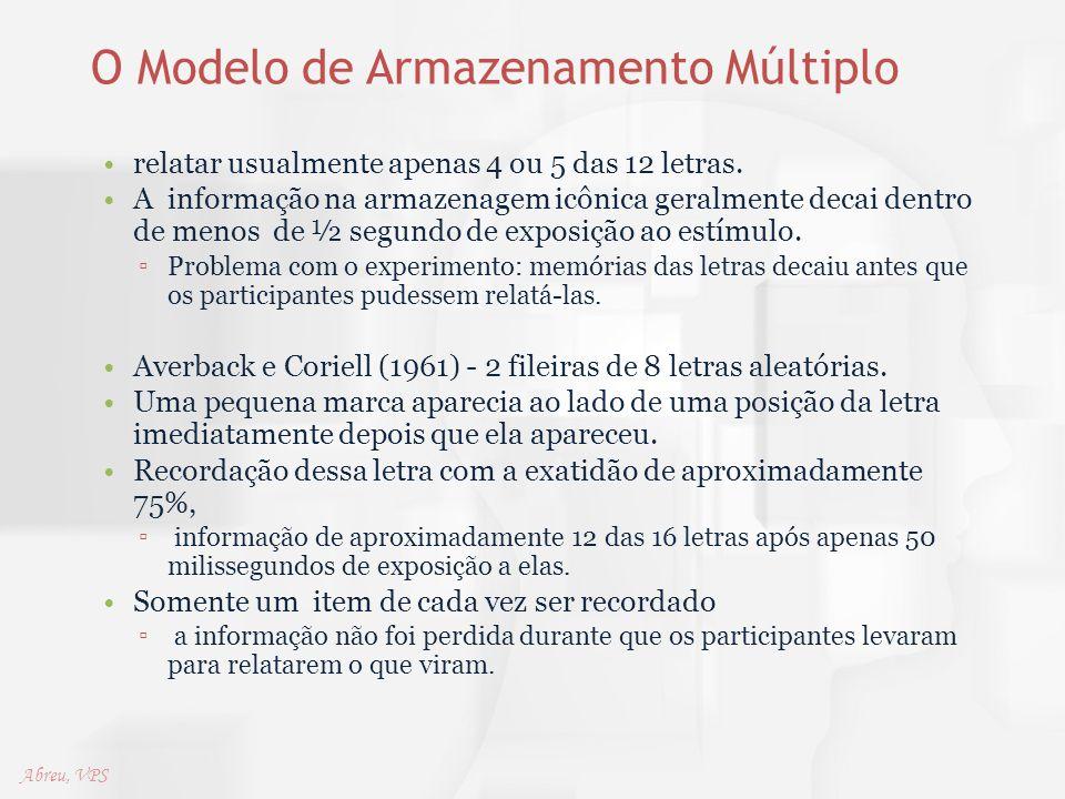 O Modelo de Armazenamento Múltiplo relatar usualmente apenas 4 ou 5 das 12 letras. A informação na armazenagem icônica geralmente decai dentro de meno