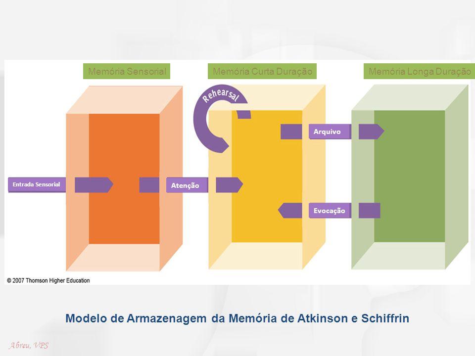 Modelo de Armazenagem da Memória de Atkinson e Schiffrin Memória SensorialMemória Curta DuraçãoMemória Longa Duração Entrada Sensorial Atenção Evocaçã