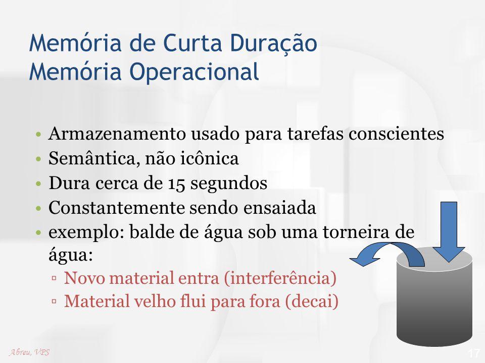 Memória de Curta Duração Memória Operacional Armazenamento usado para tarefas conscientes Semântica, não icônica Dura cerca de 15 segundos Constanteme