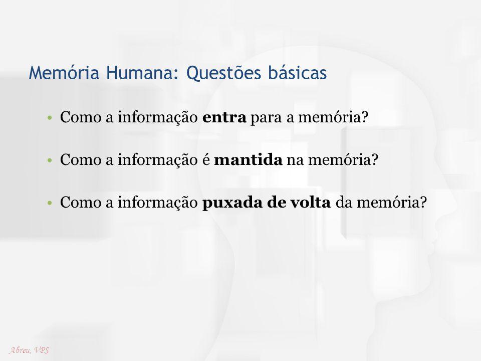 Memória Humana: Questões básicas Como a informação entra para a memória? Como a informação é mantida na memória? Como a informação puxada de volta da
