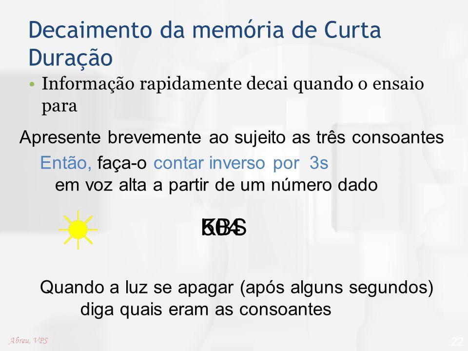 Decaimento da memória de Curta Duração Informação rapidamente decai quando o ensaio para 22 Apresente brevemente ao sujeito as três consoantes KBS Ent