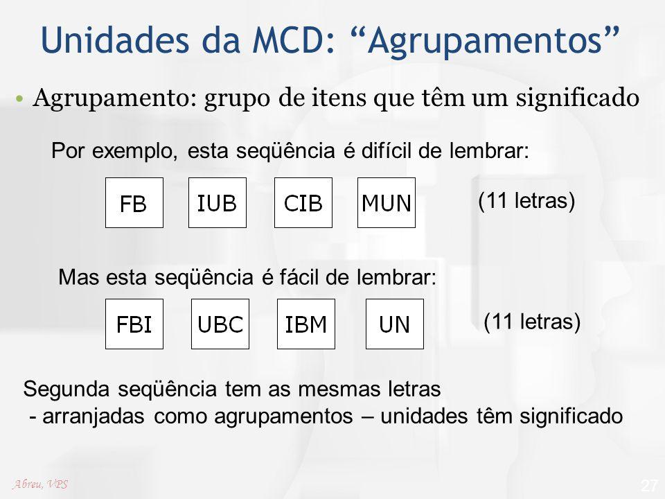 """Unidades da MCD: """"Agrupamentos"""" Agrupamento: grupo de itens que têm um significado 27 Por exemplo, esta seqüência é difícil de lembrar: Mas esta seqüê"""
