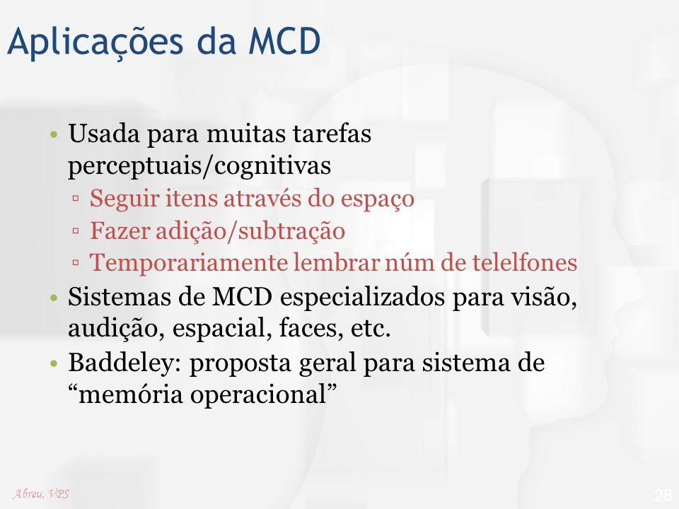 Aplicações da MCD Usada para muitas tarefas perceptuais/cognitivas ▫Seguir itens através do espaço ▫Fazer adição/subtração ▫Temporariamente lembrar nú