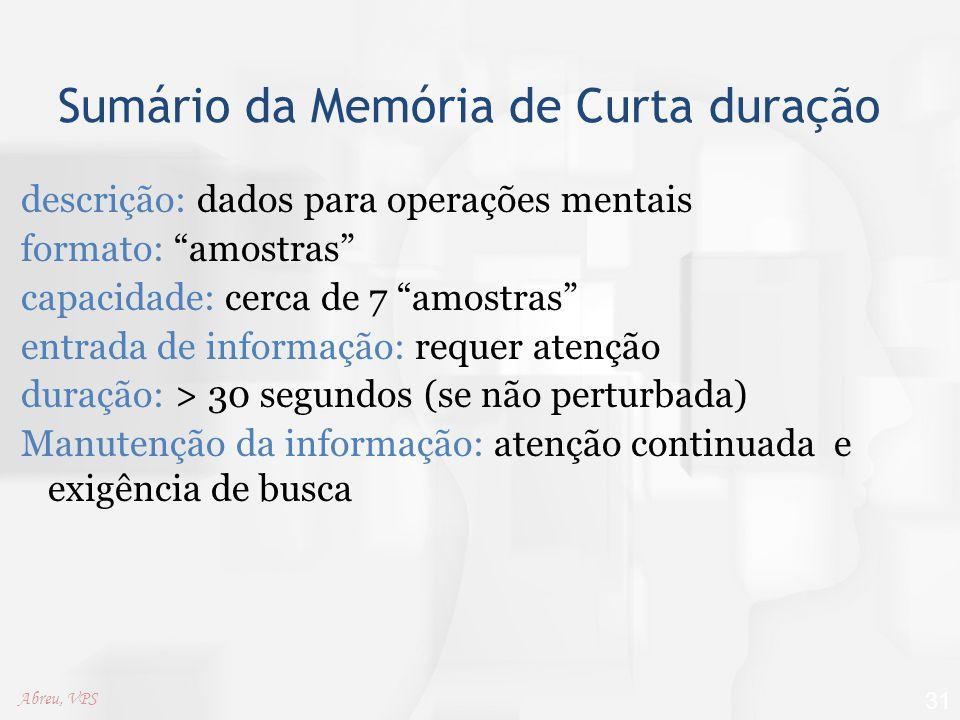 """Sumário da Memória de Curta duração descrição: dados para operações mentais formato: """"amostras"""" capacidade: cerca de 7 """"amostras"""" entrada de informaçã"""
