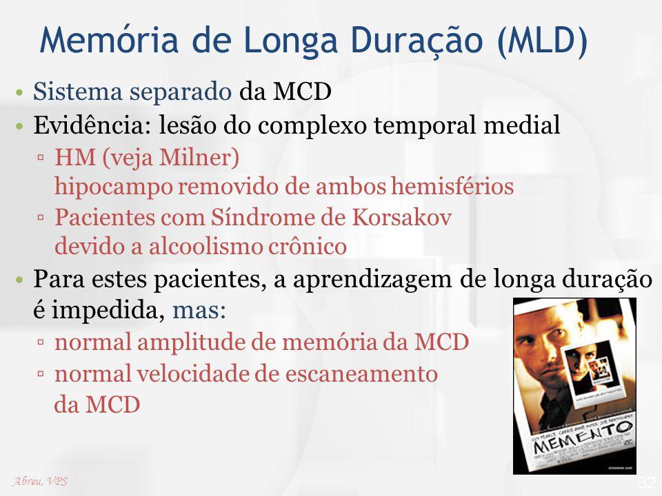 Memória de Longa Duração (MLD) Sistema separado da MCD Evidência: lesão do complexo temporal medial ▫HM (veja Milner) hipocampo removido de ambos hemi