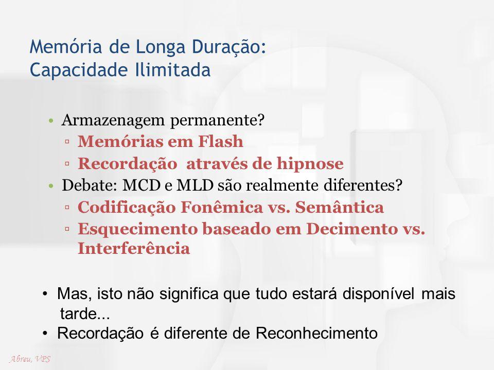 Memória de Longa Duração: Capacidade Ilimitada Armazenagem permanente? ▫Memórias em Flash ▫Recordação através de hipnose Debate: MCD e MLD são realmen